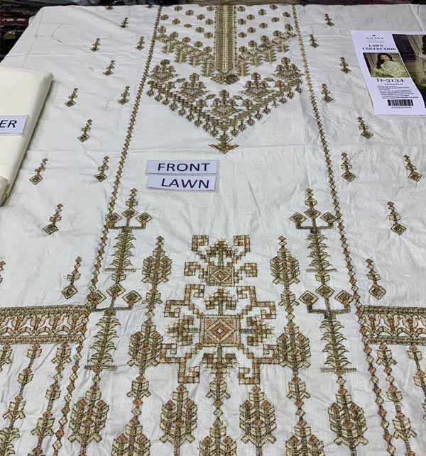 Lawn Full Heavy Embroidered Suit With Embroidered Dupatta UNSITCHED (DRL-877) Gallery Image 1