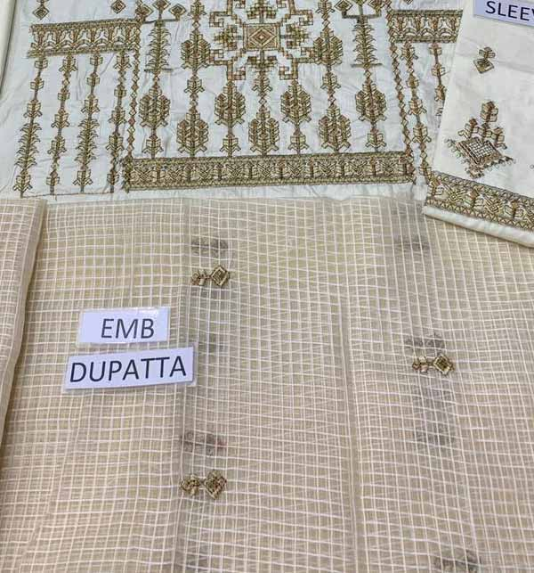 Lawn Full Heavy Embroidered Suit With Embroidered Dupatta UNSITCHED (DRL-877) Gallery Image 2
