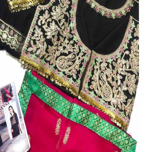 Black Chiffon Embroidery Maxi with Embroidery Chiffon Dupatta (CHI-461) Gallery Image 3