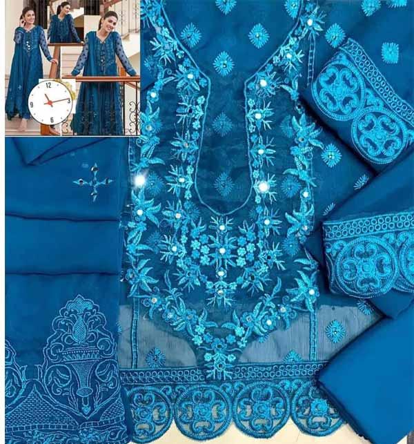 Chiffon Embroidered Dress With Heavy Embroidered Mirrorwork Chiffon Dupatta (CHI-464) Gallery Image 1