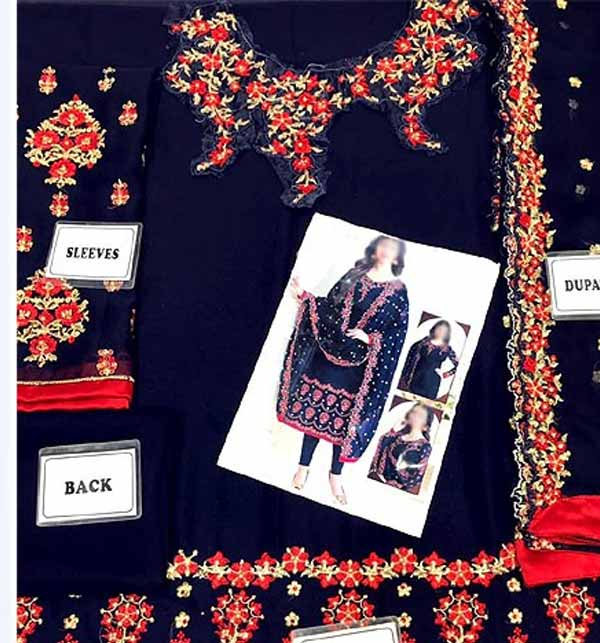 Indian Embroidered Navy Blue Chiffon Party Wear Dress (CHI-465) Gallery Image 1