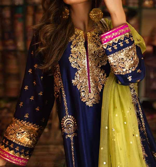 Chiffon Heavy Embroidered Suit With Net Dupatta (CHI-467) Gallery Image 1