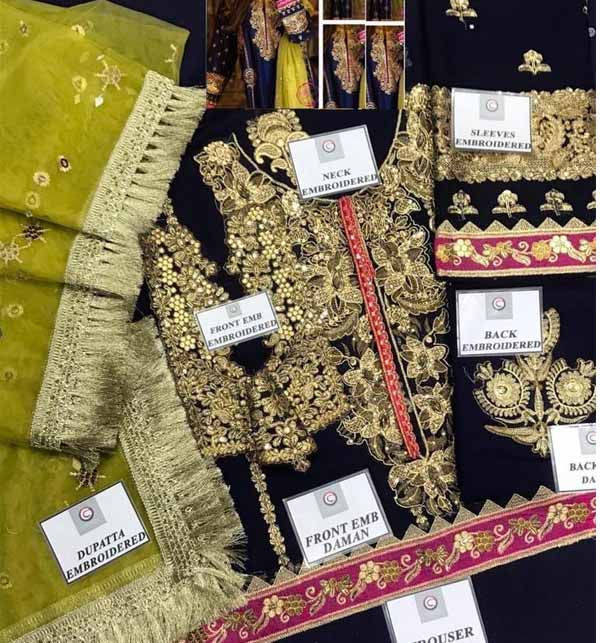 Chiffon Heavy Embroidered Suit With Net Dupatta (CHI-467) Gallery Image 2