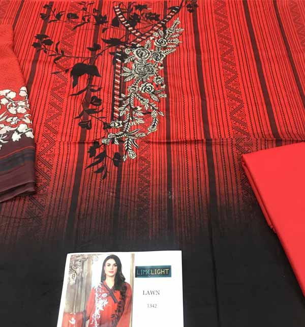 Beautiful Lawn Embroidered Dress with Chiffon Dupatta  (DRL-890 Gallery Image 1