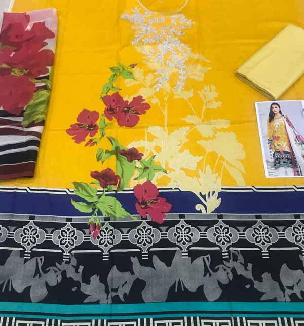 New Neck Lawn Full Embroidered Dress with Chiffon Dupatta  (DRL-891) Gallery Image 1