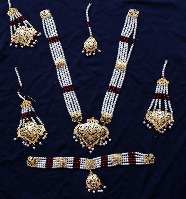 Beautiful Hyderabadi Jewelry Set MALA & Chocker Necklace Set Earing & Mathapatti (PS- 388) Gallery Image 1