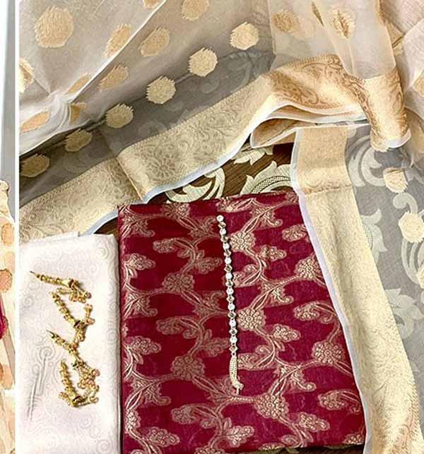 Banarsi Style Cotton Jacquard Dress with Organza Jacquard Dupatta (DRL-900) Gallery Image 1