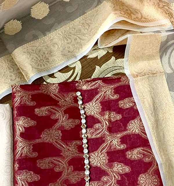 Banarsi Style Cotton Jacquard Dress with Organza Jacquard Dupatta (DRL-900) Gallery Image 2