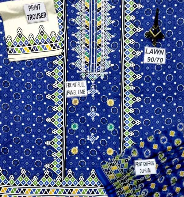Lawn Ajrak Embroidery Suit Chiffon Dupatta UnStitched (DRL-902) Gallery Image 1