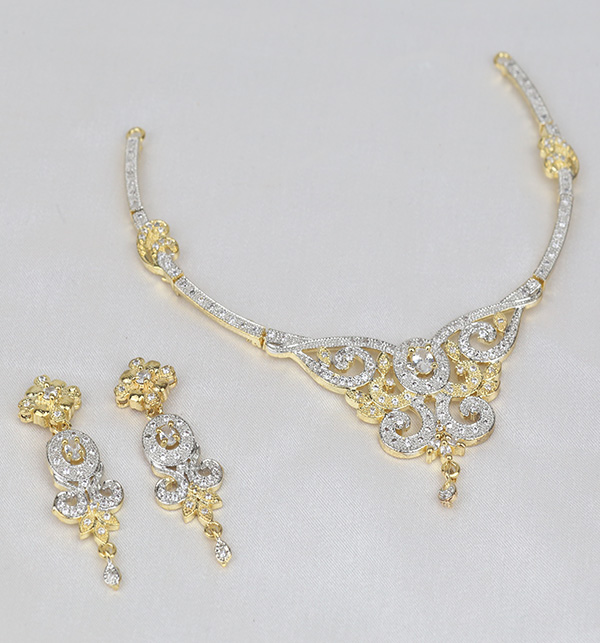 Zircon AD Beautiful Neacklace Set With Earring  (PS-391) Gallery Image 1