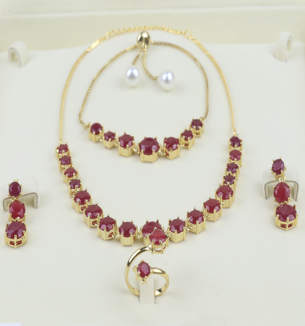 Stylish Zircon Stone Necklace Set Bracelet Earing and Ring  (PS-392) Gallery Image 1