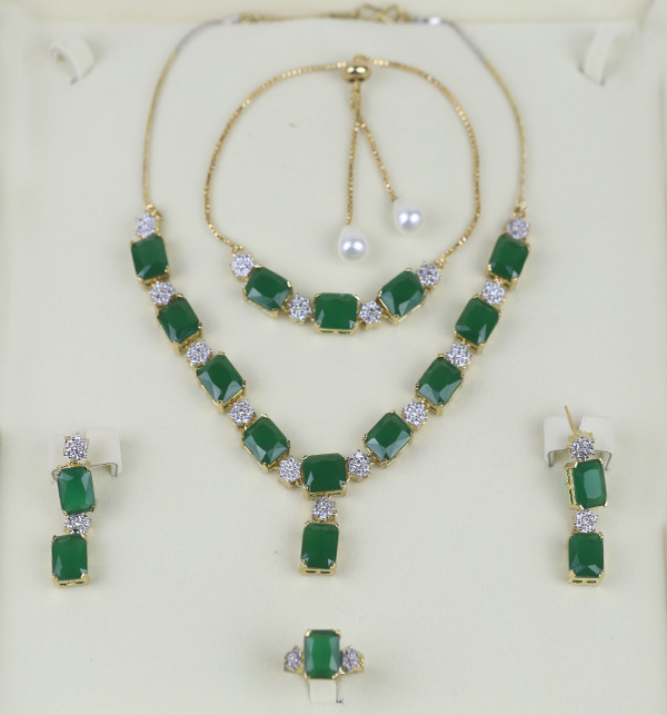 Zircon With Green Stone Necklace Set Earing Bracelet and Ring  (PS-393) Gallery Image 1