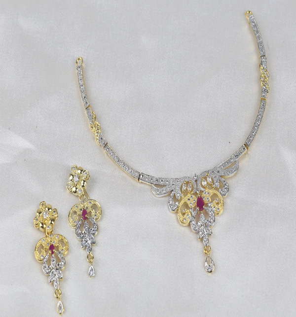 Zircon Neacklace Set With Earring  (PS-395) Gallery Image 1
