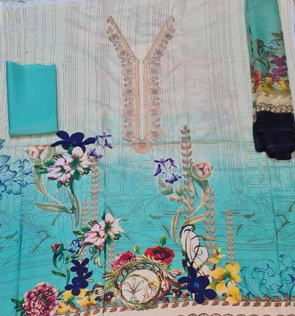 Neck  Embroidered Lawn Suit with Chiffon Dupatta (DRL-908) Gallery Image 1