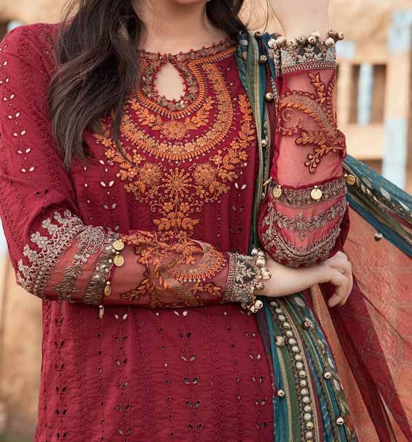 Lawn Full Heavy Embroidered Suit With Chiffon Duppata (DRL-932) Gallery Image 1