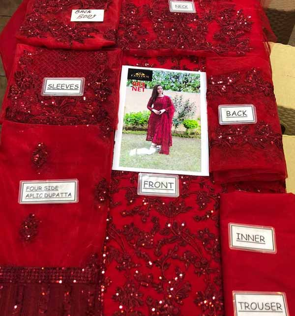 Heavy Embroidered Maroon Net Formal Wedding Suit (CHI-469) Gallery Image 1