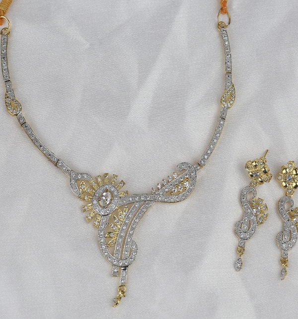 Beautiful Zircone Necklace Set With Earrings (PS-400) Gallery Image 1