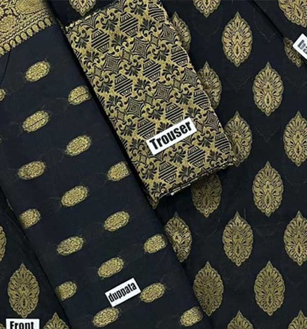 Banarsi Style Black Cotton Jacquard Suit with Cotton Jacquard Dupatta (Unsicthed) (DRL-942) Gallery Image 1