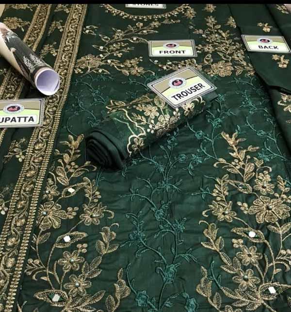 Stylish New Chiffon Embroidered Maxi Dress 4-Side Embroidered Dupatta (CHI-473) Gallery Image 1