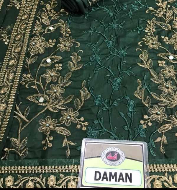 Stylish New Chiffon Embroidered Maxi Dress 4-Side Embroidered Dupatta (CHI-473) Gallery Image 2
