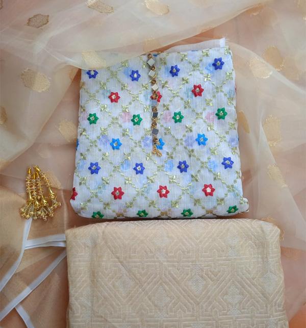 Banarsi Paper Cotton Full Heavy Embroidery Dress With Organza Dupatta Masorri Trouser (DRL-949) Gallery Image 1