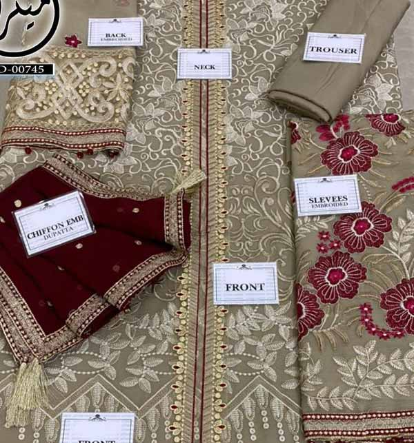 Luxury Embroidered Chiffon Wedding Dress with Four Side Embroidered Dupatta (CHI-475) Gallery Image 1