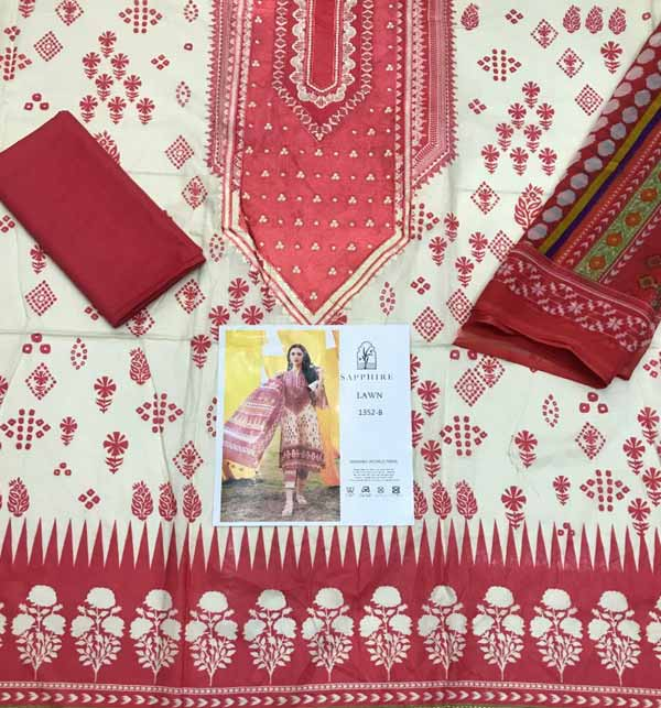 EID SALE Pack of 3 Embroidered Lawn Suits Wholesale (DRL-808),  (DRL-751) & (DRL-913) Gallery Image 3
