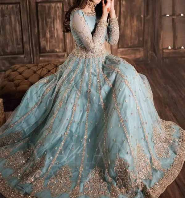 Wedding  Net Heavy Embroideryed Suit 2021 With  4 Side Attach Border Embroidery Dupatta  (CHI-476) Gallery Image 1