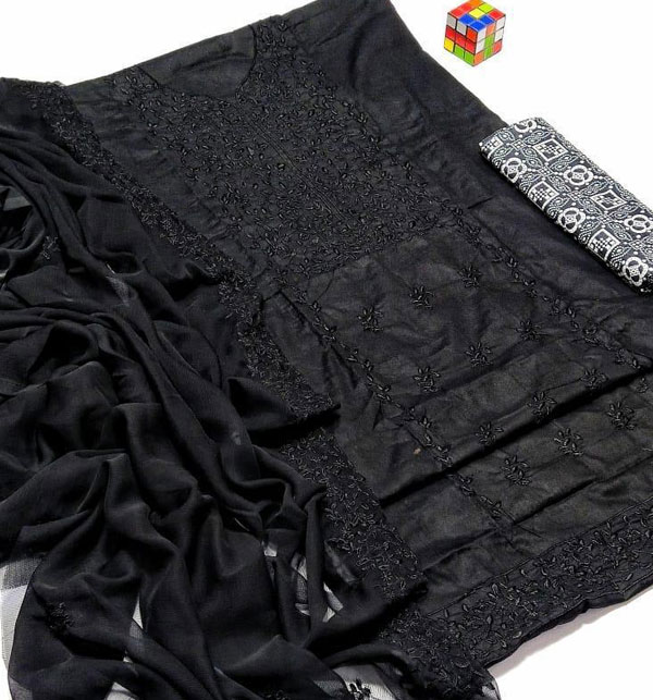Luxury Embroidered Black Lawn Suit with Chiffon EMB Dupatta (Unstitched) (DRL-951) Gallery Image 1