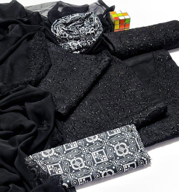 Luxury Embroidered Black Lawn Suit with Chiffon EMB Dupatta (Unstitched) (DRL-951) Gallery Image 3