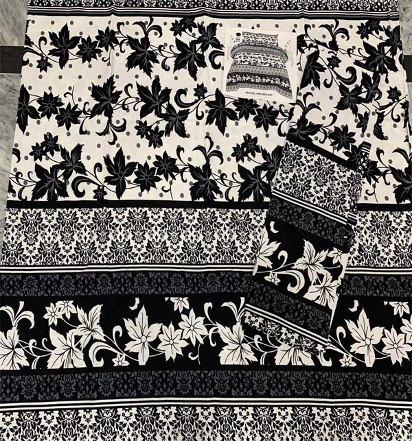Black and White Crystal Cotton Bed Sheet King Size (BCP-60) Gallery Image 1