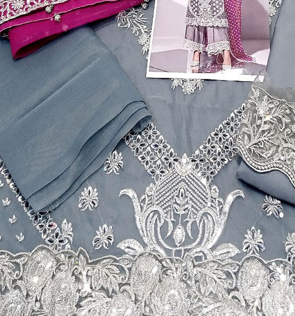 Heavy Embroidered Grey Organza Wedding Dress with Inner (CHI-482) Gallery Image 3