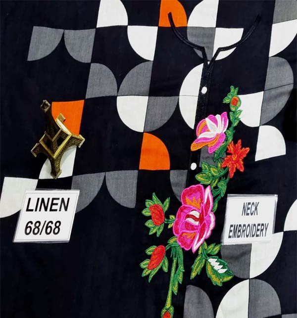Trendy Linen Embroidered Dress 2021 with Linen Dupatta (LN-225) Gallery Image 2