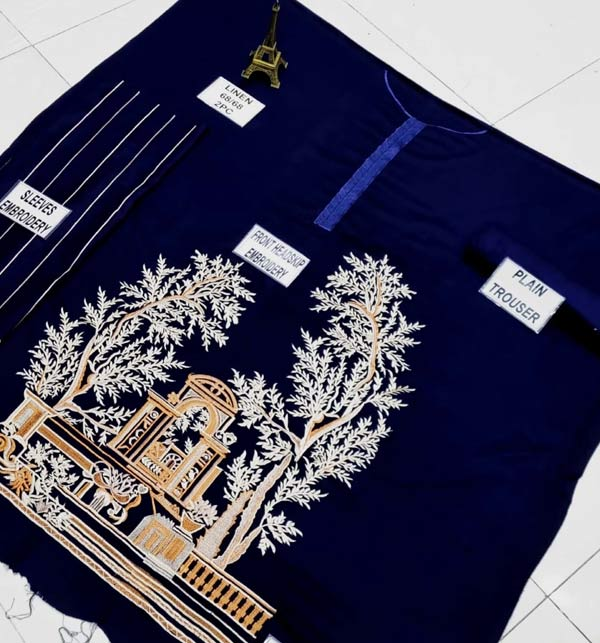 LINEN 2 Pieces Beautiful Embroidered Suit (Unsicthed) (LN-231) Gallery Image 2