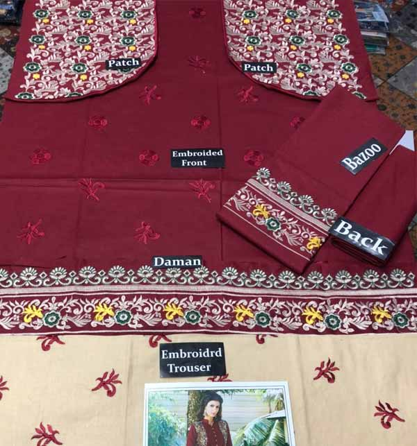 Linen Embroidered Suit WIth Embroidery Trouser Embroidered Stylish 2 PCS Dress (LN-232) Gallery Image 1