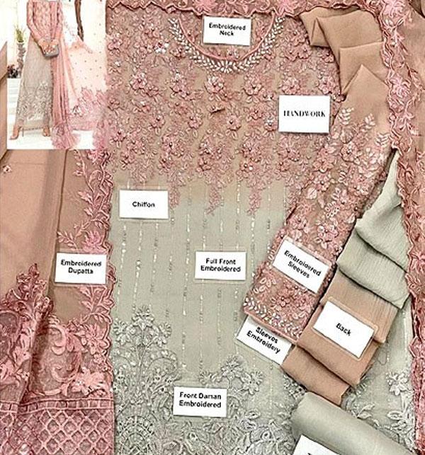 Chiffon Handwork Heavy Embroidered Tie & Die Chiffon Wedding Dress 2021 (CHI-484) Gallery Image 1