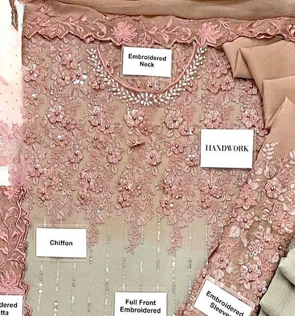Chiffon Handwork Heavy Embroidered Tie & Die Chiffon Wedding Dress 2021 (CHI-484) Gallery Image 2