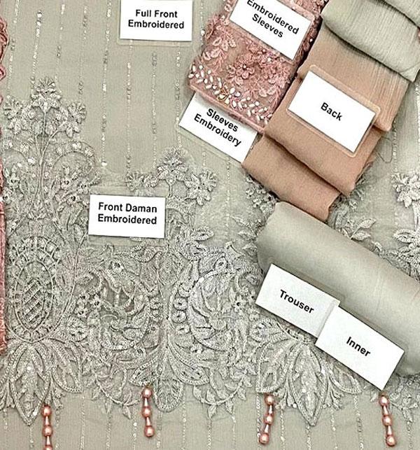 Chiffon Handwork Heavy Embroidered Tie & Die Chiffon Wedding Dress 2021 (CHI-484) Gallery Image 3