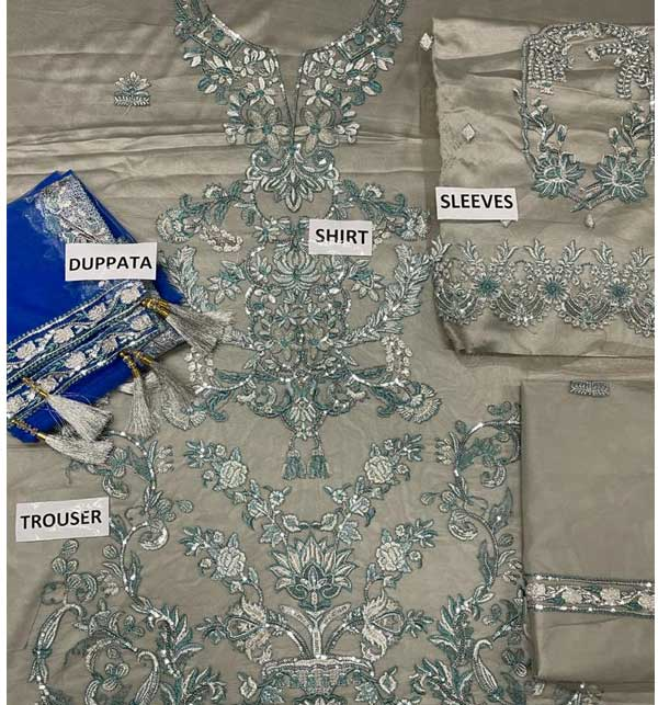 NET Heavy Embroidered Wedding Dress Embroidered Net Dupatta with Hanging Tassels (CHI-488) Gallery Image 1