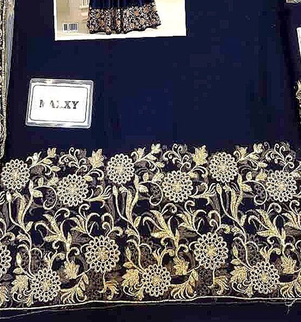 Indian Embroidered Navy Blue Chiffon Maxi Dress  (CHI-491) Gallery Image 3