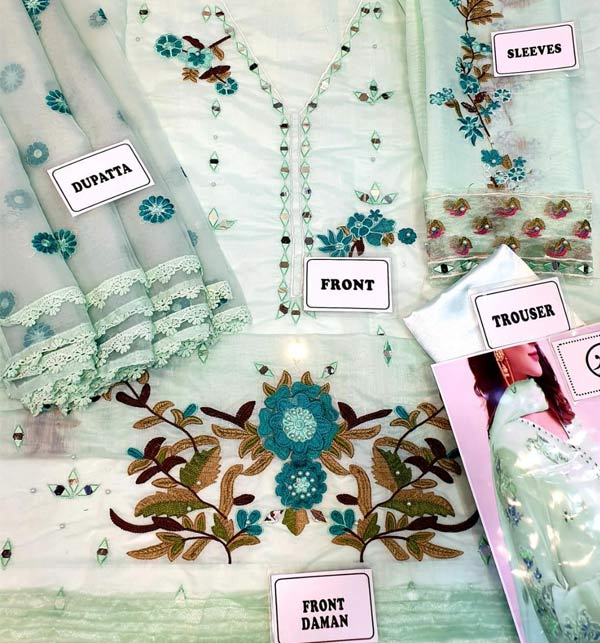 Hit Design Paper Cotton Dress 3D EMB With Chiffon Dupatta (CHI-494) Gallery Image 1