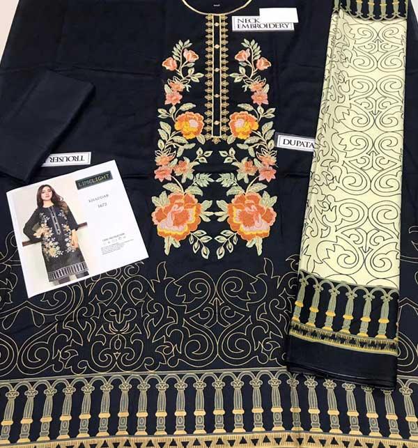 Marina Front Panel Heavy Embroidery Dress With Marina Shawl Dupatta (KD-140) Gallery Image 1