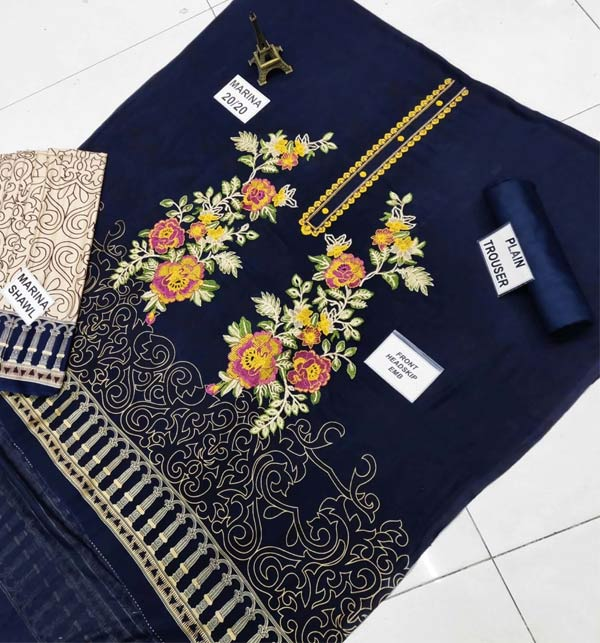 Marina Front Panel Heavy Embroidery Dress With Marina Shawl Dupatta (KD-140) Gallery Image 2