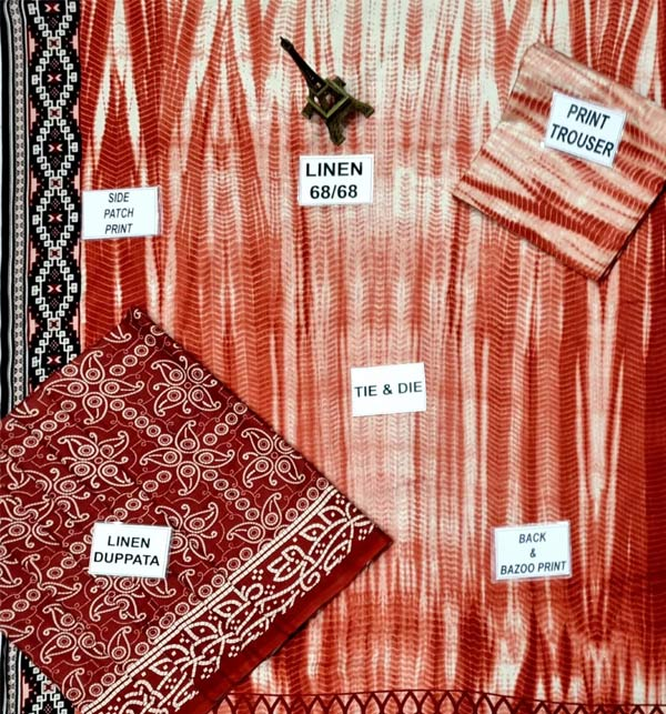 Linen Tie Dye Dreess Design 2021 With Printed Linen Dupatta (LN-248) Gallery Image 1