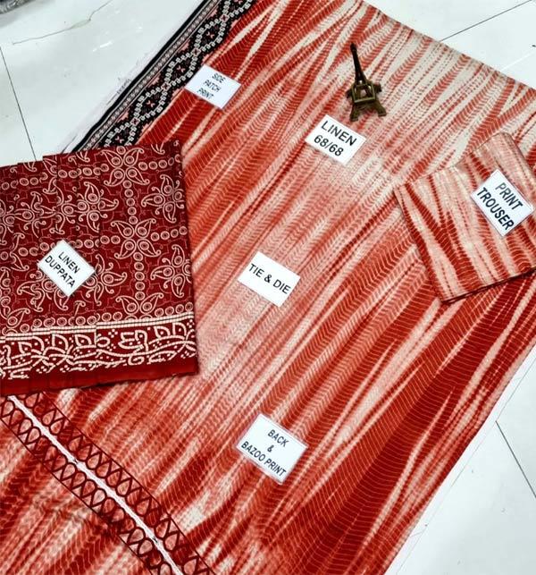 Linen Tie Dye Dreess Design 2021 With Printed Linen Dupatta (LN-248) Gallery Image 2
