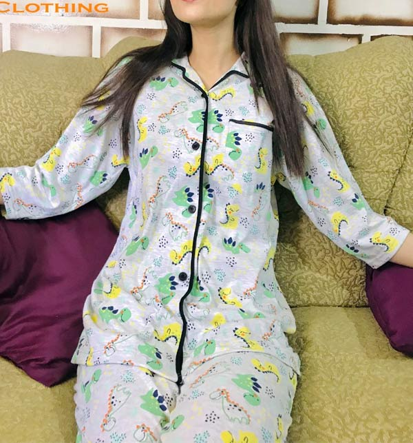 Sleep Dress Night Wear with Shirt and Trouser (Complete Sleeping Suit) For Women and Girls (ND-4) Gallery Image 1