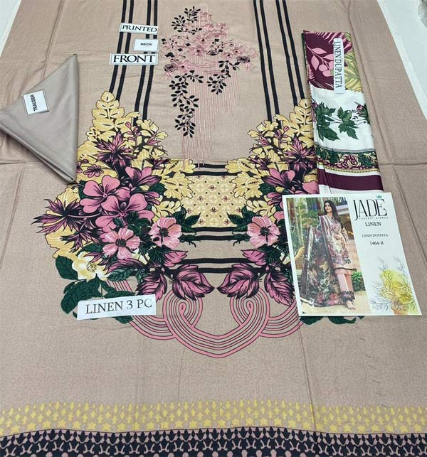 Linen Embroidered Dress 2021-2022 with Linen Dupatta (LN-251) Gallery Image 1