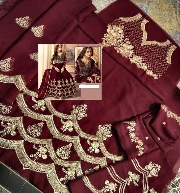 Chiffon Embroidered Marron Dress With Chiffon Dupatta - Bridal Collection 2021-22 (CHI-497) Gallery Image 1