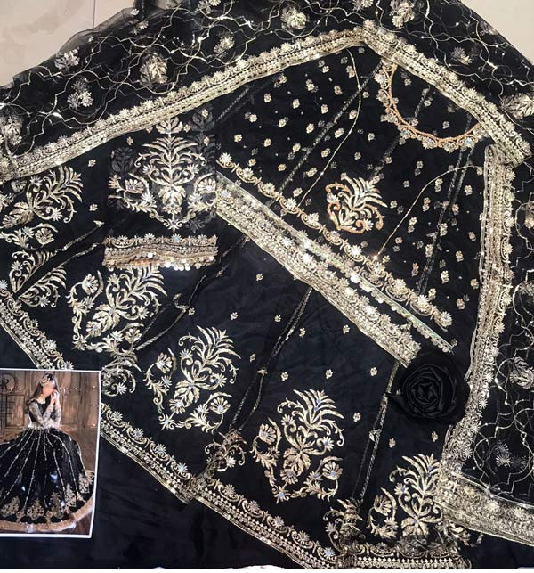 Black Heavy Embroidered Dress With Net Embroidered Dupatta (CHI-498) Gallery Image 1