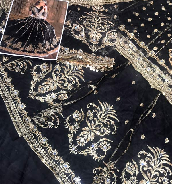 Black Heavy Embroidered Dress With Net Embroidered Dupatta (CHI-498) Gallery Image 2